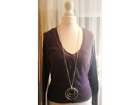 Ladies Purple Speckled Ruched Buttoned Scoop Neck Cardigan.Size 8.