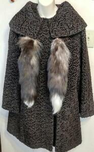 Womens M L 10 12 PERSIAN LAMB Swing Coat Real Fur Vintage 50s MINT plus Fox Tails Dark Brown Ladies Womens Retro Jacket
