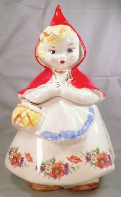 Hull Little Red Riding Hood Cookie Jar 3 Orange Poppies Gold 135889 Vintage