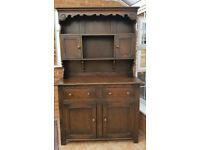 Antique Dark English Oak Welsh Dresser Early 20th Century Hand Carved