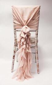 Chiavari Chair chiffon hoods and ruffles. Chair deco