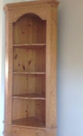 Pine corner unit with shelves and cupboard