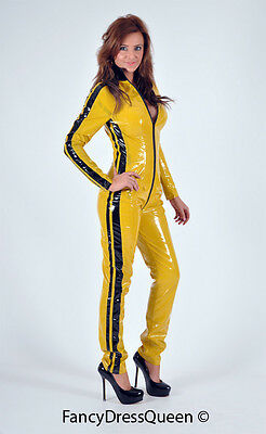 Sexy Yellow Kill Bill Costume PVC Catsuit Fancy Dress Outfit Large Size 10/12
