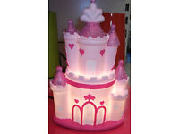 BRAND NEW LOVELY PINK PRINCESS CASTLE TABLE LAMP GIRLS KIDS BEDROOM NIGHT LIGHT
