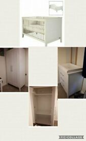 White, freestanding wardrobe