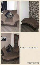 Cuddle sofa, chair and footstool