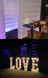 photobooth, LOVE letter, candy cart and baby blocks