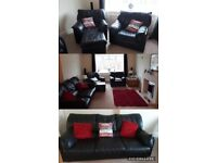 Black leather 3 seat sofa settee chairs footstool