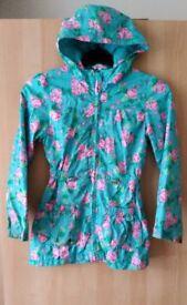 Girls Pretty Hooded Floral Rain Coat /Jacket Age 7-8 Autumn