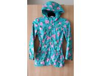 Girls Pretty Hooded Floral Rain Coat /Jacket Age 7-8 Autumn