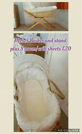 Moses basket, stand and sheet
