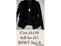 Black Faux Fur Jacket with Faux Leather sleeves