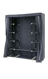 Songmics Canvas Wardrobe Cupboard Hanging Rail Storage Shelves
