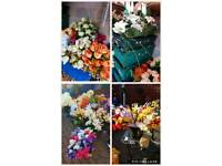 Job lot artificcal flower and christmas decoration