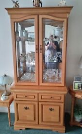 Solid Yew Display Cabinet - v good condition needs to go by Monday