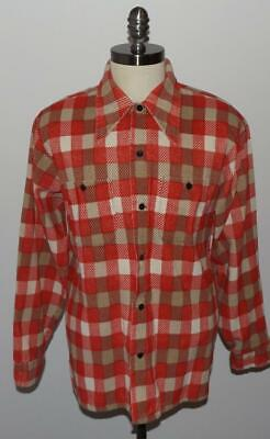 Men's Vintage 80's Mr. DEE CEE Knit Flannel Shirt Orange/Red Plaid USA MADE L 80s Knit Shirt