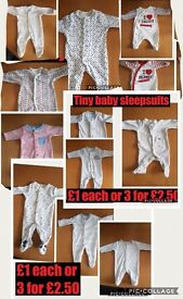 Tiny baby clothes some new some worn once max three times