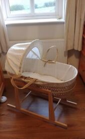 Moses Basket, Stand and Mattress (Like New)