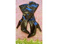 NEW NINE WEST Long Shiny Patent Panelled Brown Leather Boots/Faux Fur Lining & Top: Size: 7-8 (9W)