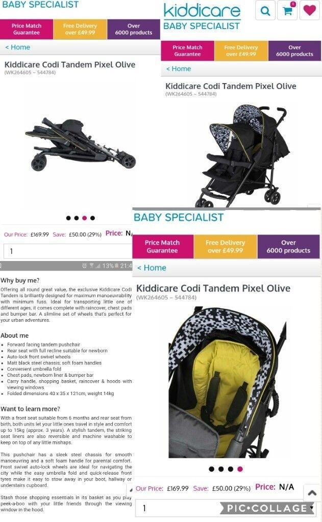 Tandem stroller kiddicare