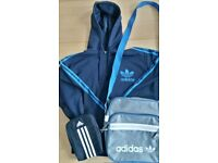 Mens Large ADIDAS NAVY BLUE HOODIE approx 44 inch chest and Adidas Bag + Cross body Bag