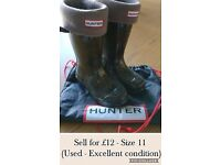 Hunter Wellys with Socks and Hunter drawstring bag