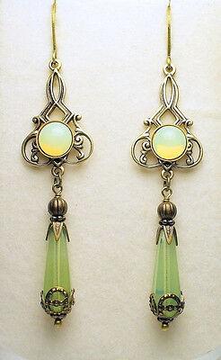 Art Nouveau Edwardian Style Vintage Brass Czech Opal Glass Earrings