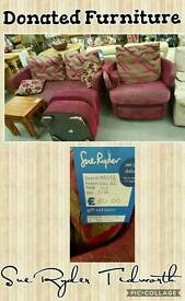 Sofa, swivel and pouffe