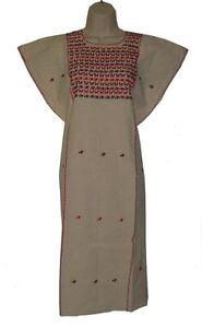 Hippie-Vintage-Embroidered-Mexican-Dress-Huipil-L-XL-Little-Birds-100-Cotton