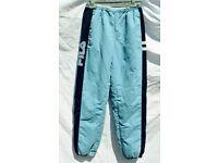 "Vintage Fila Large Boys Girls Men's or Ladies Light Blue Tracksuit Bottoms Jogging Trousers W24-32"""