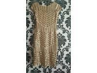 GOLD SEQUIN DRESS SIZES 8 & 10