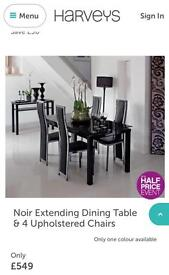 BARGAIN PRICE- Noir Glass Extending Dining Table and SIX Chairs