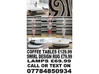 BRAND NEW LAMPS RUGS AND COFFEE TABLES + DELIVERY