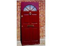 Composite front door.Rich Red Maroon colour on the front and white on the inside. Quality made VGC