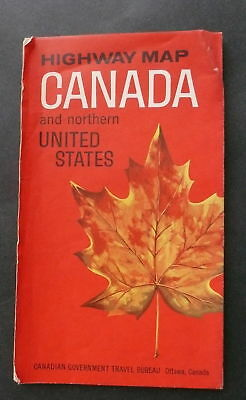 1964 65 Canada official highway  road map Northern U.S.
