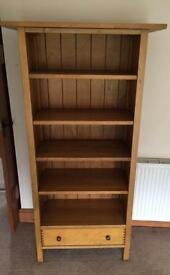 Solid wood book shelves and bottom drawer