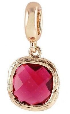 - Gold Pink Rhinestone Square Charm For Endless Story Bracelet Jewelry