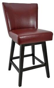 Swivel Counter Height Stool in Grey, Red, White, Brown and Black Leather