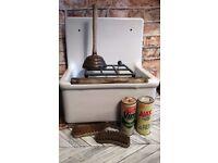 vintage sluice sink .grate splashback. armitage england. for barn build cottage. utility room