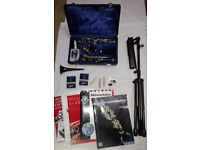 Complete beginners clarinet outfit: Boosey & Hawkes Bb clarinet, reeds, stand, music stand +5 books.