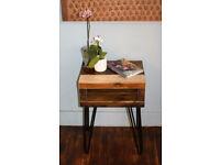 blackened Industrial Hairpin Leg Bedside table
