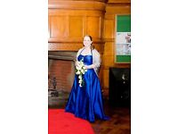 Stunning midnight blue wedding/prom dress, custom made, size 14, worn once