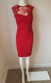 Lipsy Red Embellished Chiffon Dress