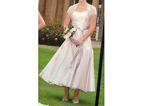 Designer Loulou pale pink bridesmaid dress with lace bolero size 12/14