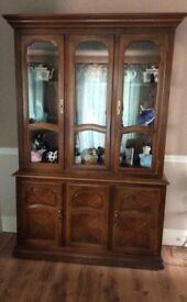 Wood and glass cabinet with lights storage at bottom height 80inches x 51inches wide