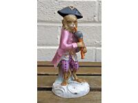 -BAGPIPE PLAYER- C19th MEISSEN MONKEY BAND/ORCHESTRA STYLE CROSS SWORDS FIGURE MODEL