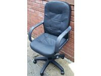 office chair, leather look, gas lift height adjustable. good quality. In excellent condition.
