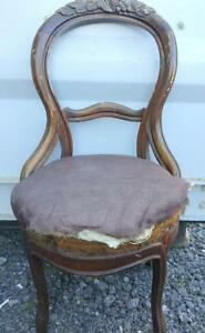 UPHOLSTERY PROJECT CHAIR - ANTIQUE - CARVED DARK WOOD - BEAUTIFUL Needs Some TLC $60 OBO OAKVILLE