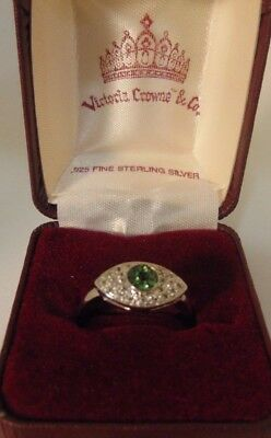 VICTORIA CROWNE & CO. EMERALD GREEN EVIL EYE RING SIZE 8 Crown Emerald Ring