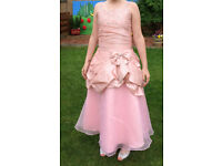 Flower Girl Dress Blush Pink Beaded Organza Spaghetti Straps Floor Length Pageant Gala Day (12-13)